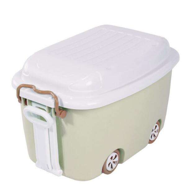 2020 Wholesale BPA Free Plastic Cartoon Car Kids Toy Storage Box with Wheel