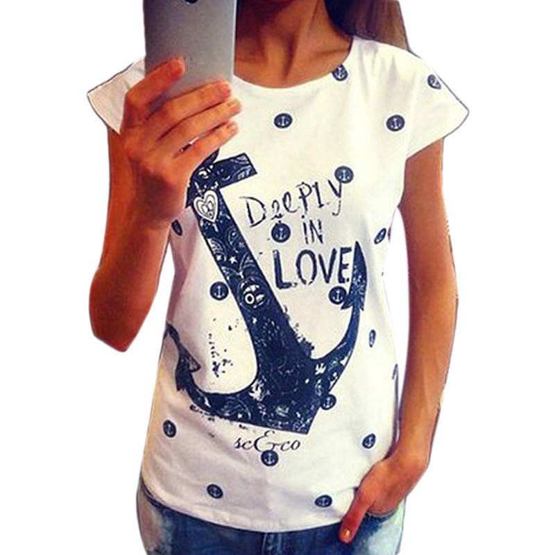 Fashion 2020 Women's Summer Style T Shirts Letter Print Anchor Slim Cotton Casual Shirts Tops