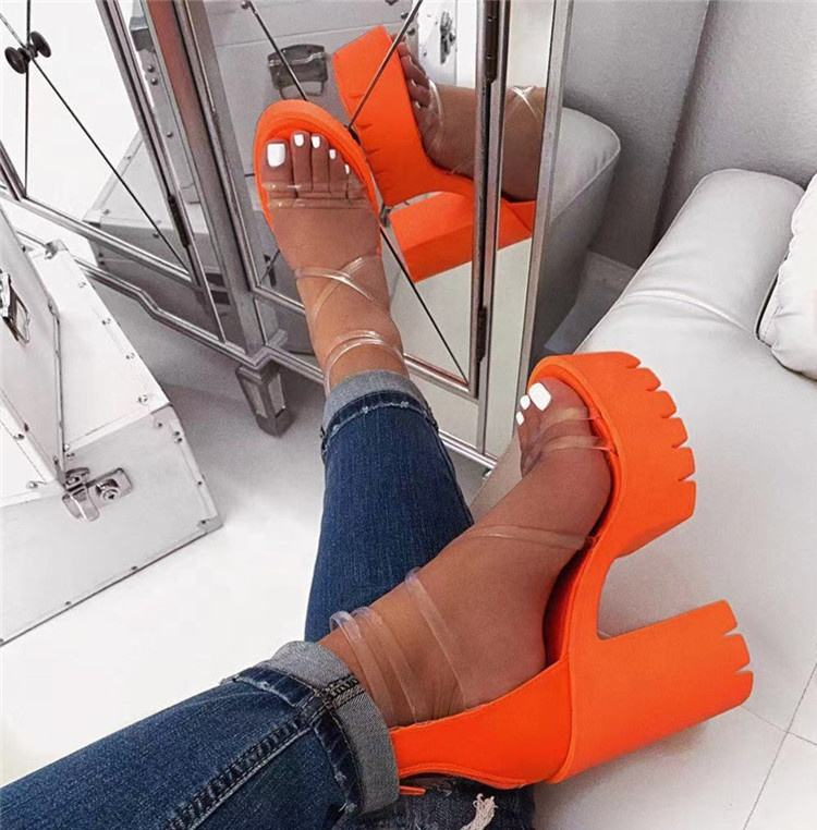 Women High-heeled Cross PVC Straps Platform Sandals Sexy Chunky Heel Shoes Thick Bottom Footwear