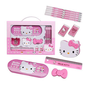 TOPSTHINK Commercio All'ingrosso 11pcs Carino Ciao Kitty Righello Gomma Da Matita Caso Grande Portatile Set di Cancelleria Per Le Ragazze