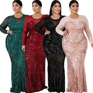 Elegant Plus Size Girl Dress Stylish Sexy Translucent Sequin Maxi Dress Plus Size Party Cocktail Evening Dresses For Fat Women