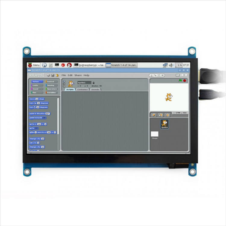 7 pouces <span class=keywords><strong>LCD</strong></span> 1024x600 Raspberry Pi Écran Tactile Capacitif IPS Écran Supporte Raspberry Pi 4/3 B +, windows 7/8/10
