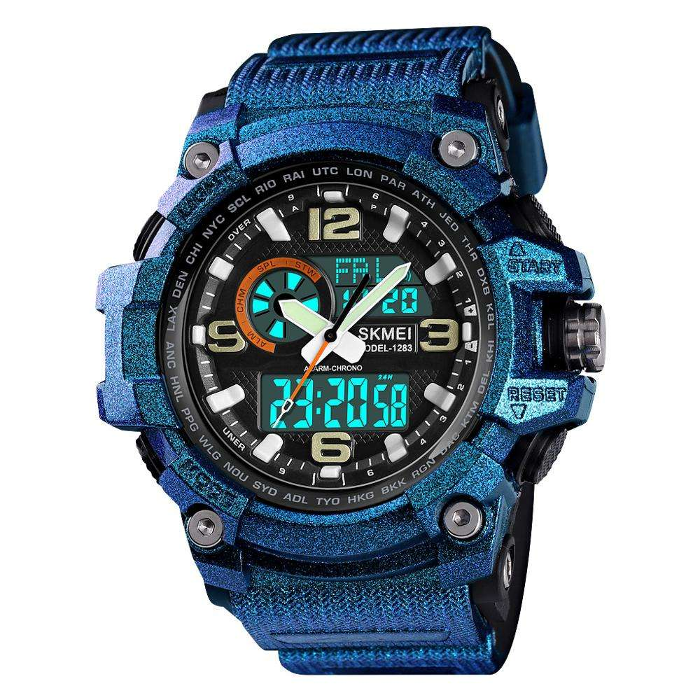 Multiple dual time Alarms waterproof with Date Chronograph men black plastic digital sports watch wristwatch
