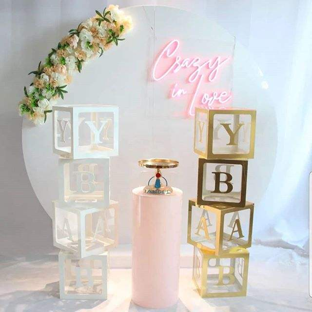 glamdisplay Acrylic Back drop /Acrylic Pedestals /Acrylic Baby Blocks balloon baby blocks