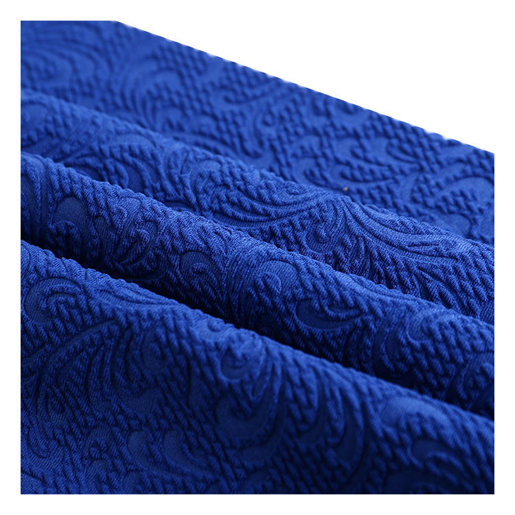 New product polyester stretch plain dyed jacquard embossed chinese knitting fabric for dress