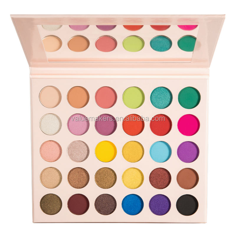 2019 New Private Label Make Up Cosmetics 30 Color Pressed Glitter Matte Shimmer Eyeshadow Palette With Cardboard Box