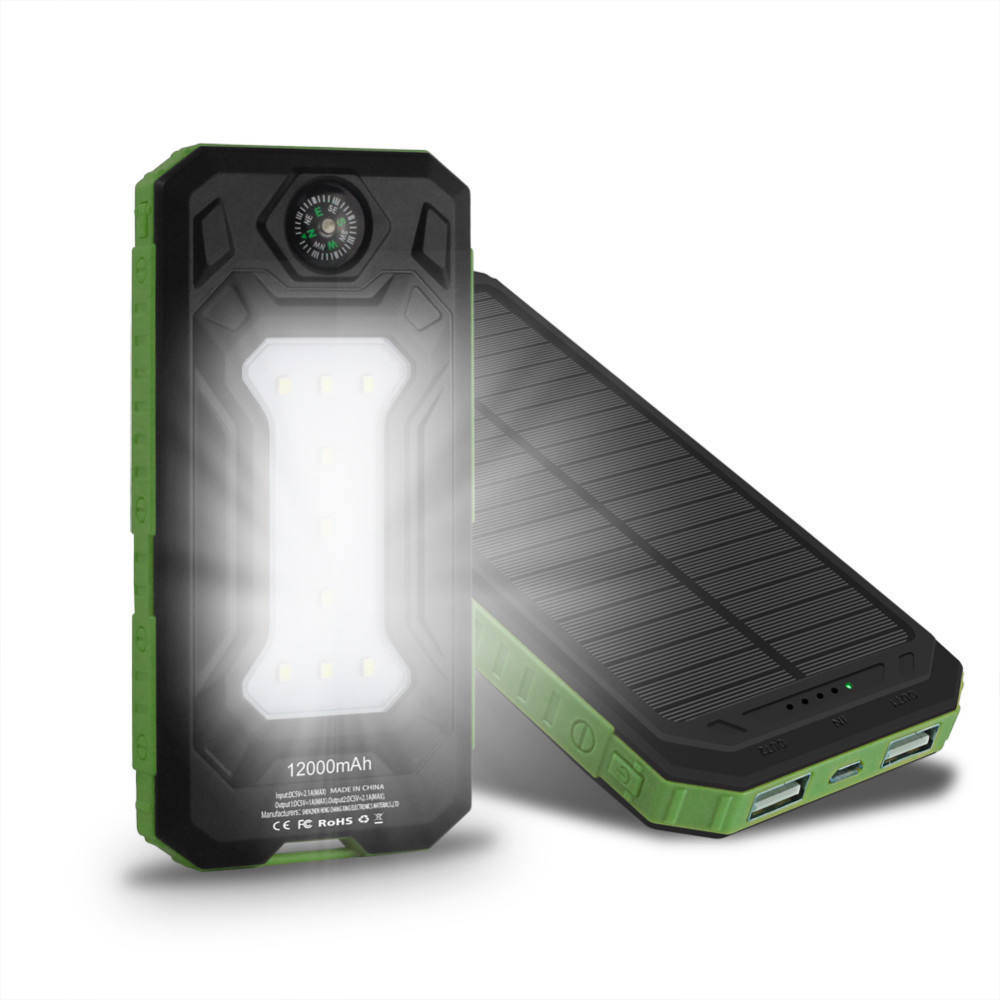 2019 solar charger 12000 mah power banks dual usb waterproof powerbank mobile phone solar power bank 12000mah with compass