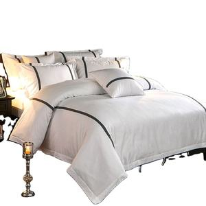 high quality white satin finished cotton embroidery hotel textile bedding comforter set and bed sheet
