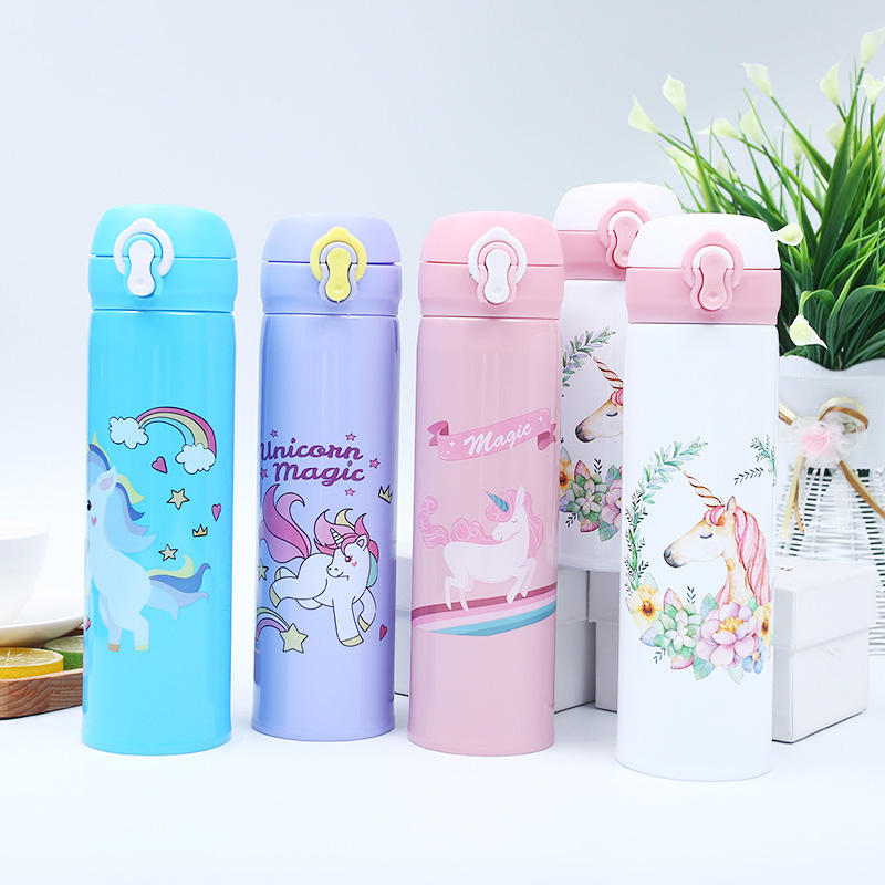 500ml cute cartoon kids unicorn drink water bottles stainless steel double wall vacuum insulated thermos bottle for school