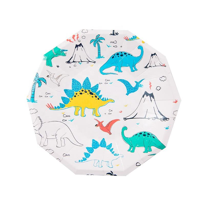 Rebelle Cartoon Dinosaur With Gold Brush Strokes Large Decagon paper plate