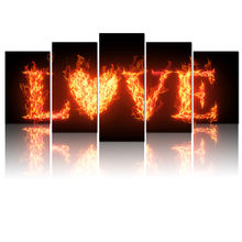 5 Panel Modern Canvas Wall Art Love Quote with Fire Painting Print Romantic Artwork for Home Living Room Bedroom Decor