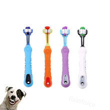 Pet Dog Three Sided Toothbrush for Dog Cats Grooming Brush Teeth Care Dog Cat Cleaning Mouth