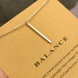 Top quality Balance Geometric Vertical Bar Stick Gold Plated Chain Pendant Necklace For Wholesale