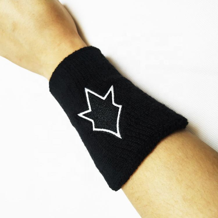 Custom Embroidery Logo 8x12cm Cotton Fabric black Sport Sweatband Wristband for terry wrist band