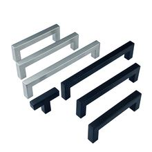 Kitchen Cabinet Drawer Stainless Steel Furniture square T bar pull black cupboard handles