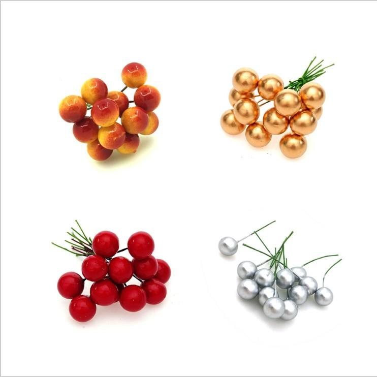 Mini Artificial Flower Fruit Stamens Cherry Christmas Plastic Pearl Berries for Wedding DIY Gift Box Decorated Wreaths