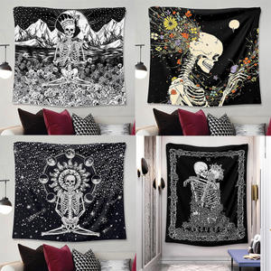 Cheap Wall hanging home decor religious black and white skull carpet tapestry