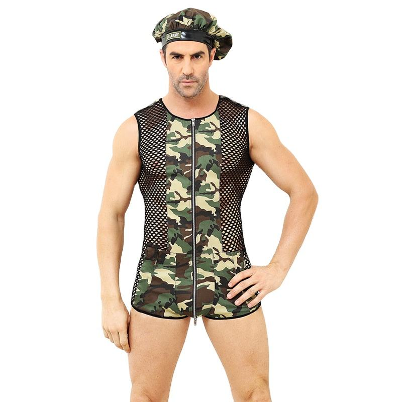 Men Hot Sexy Camouflage Army Cosplay Costumes Erotic Policeman outfit Halloween Costume Men Performance Costume