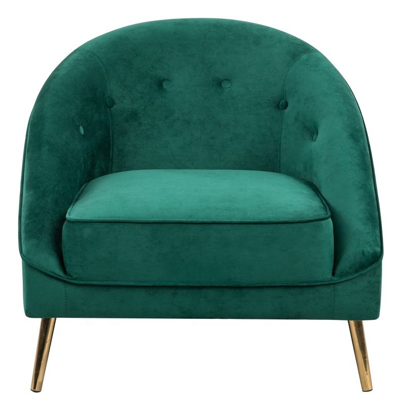 Accent Lounge Arm Chair Green Velvet Buttons Tufted Curved Back Gold Legs Living Room Furniture