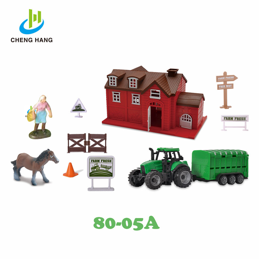 Farm Combination Play Set Simulation Tractor Truck Farm House Pretend Toy Set For Kids