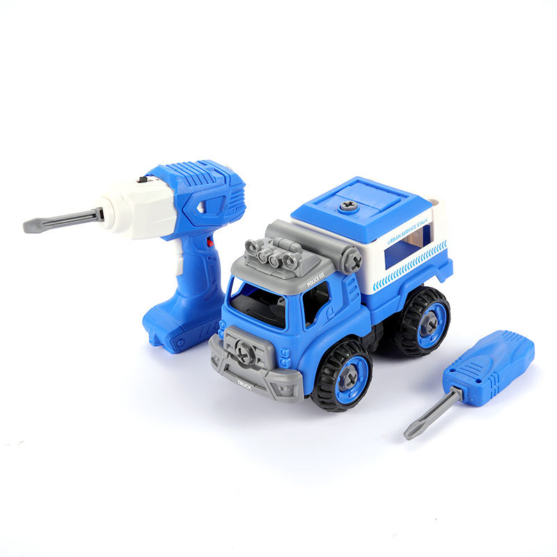 B/O DIY remote control vehicle assemble police series toy transport voice 2.4G movable electric rc car with tool set
