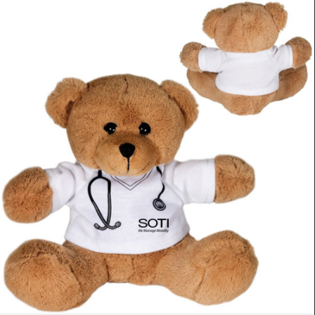 Customized different styles of plush stuffed doctor teddy bear