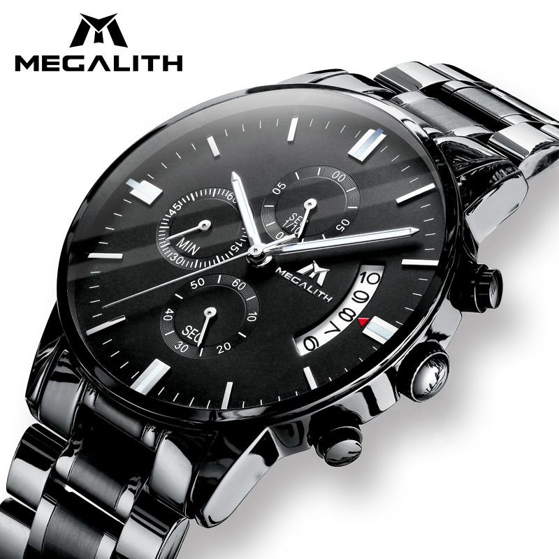 MEGALITH stainless steel luxury waterproof quartz private label watch brand hands clock wristwatches custom logo wrist men watch