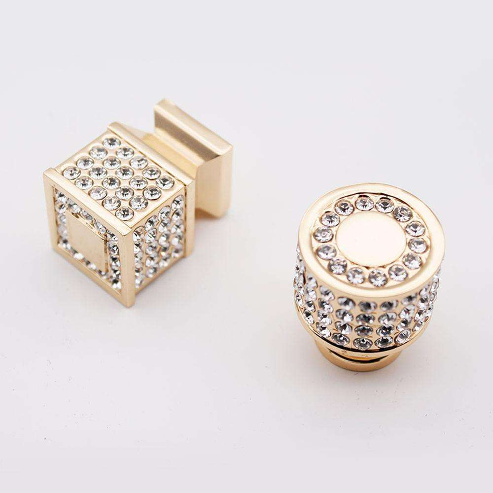 Wholesale Zinc Alloy Diamond Crystal Handle Modern Minimalist European Style Knob Cabinet Drawer Wardrobe Door Small Handle