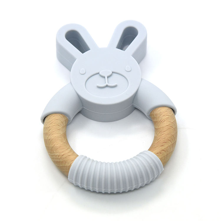 Silicone and wood teether baby teething rattle