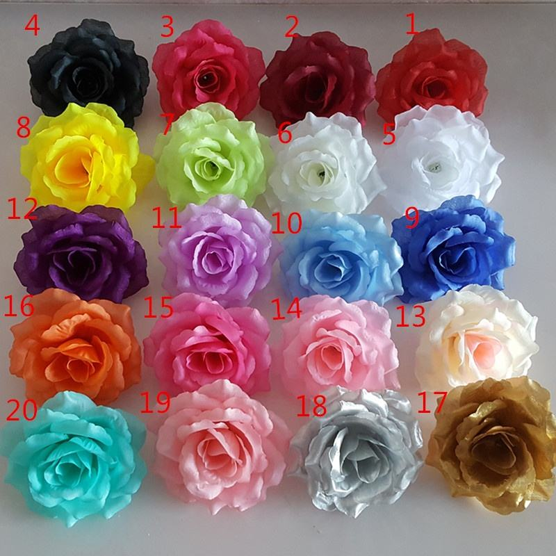 Handmade 10cm Colorful Artificial Flower Heads Rose Flower Head For Wedding