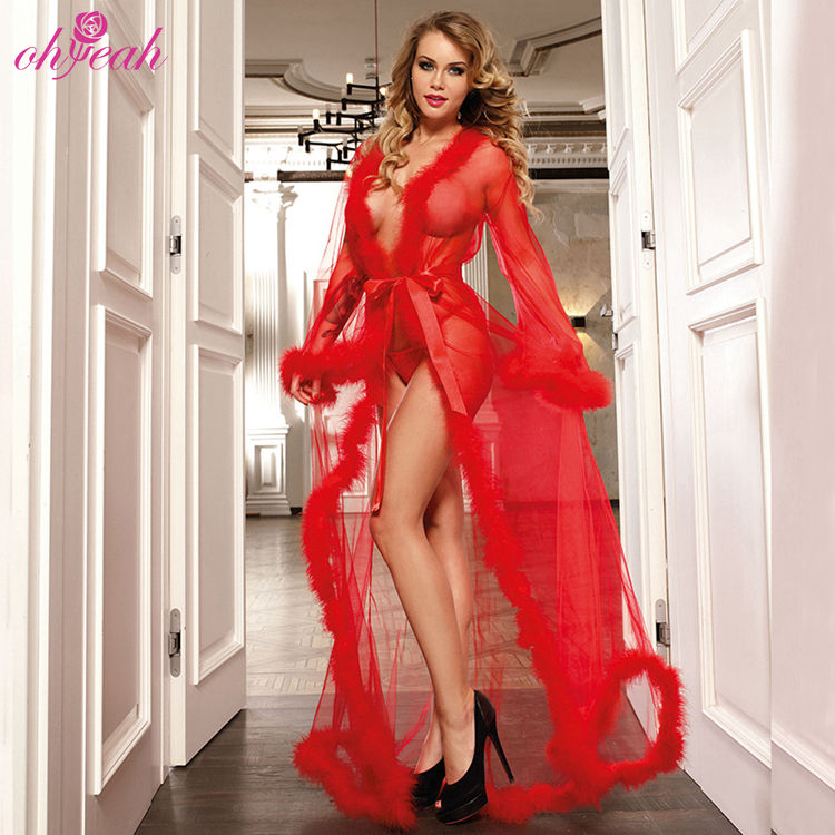 Wholesale red long sleeve ladies sexy nightgown lingerie fur robe