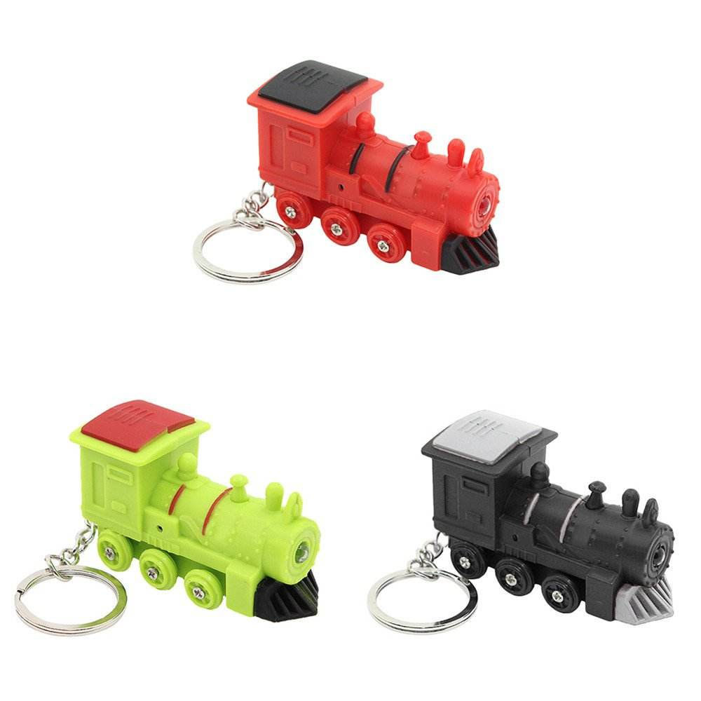 Cartoon Train kawaii LED Light Up Sound Keychain Key Ring Bag Wallet Pendant Ornament CM737