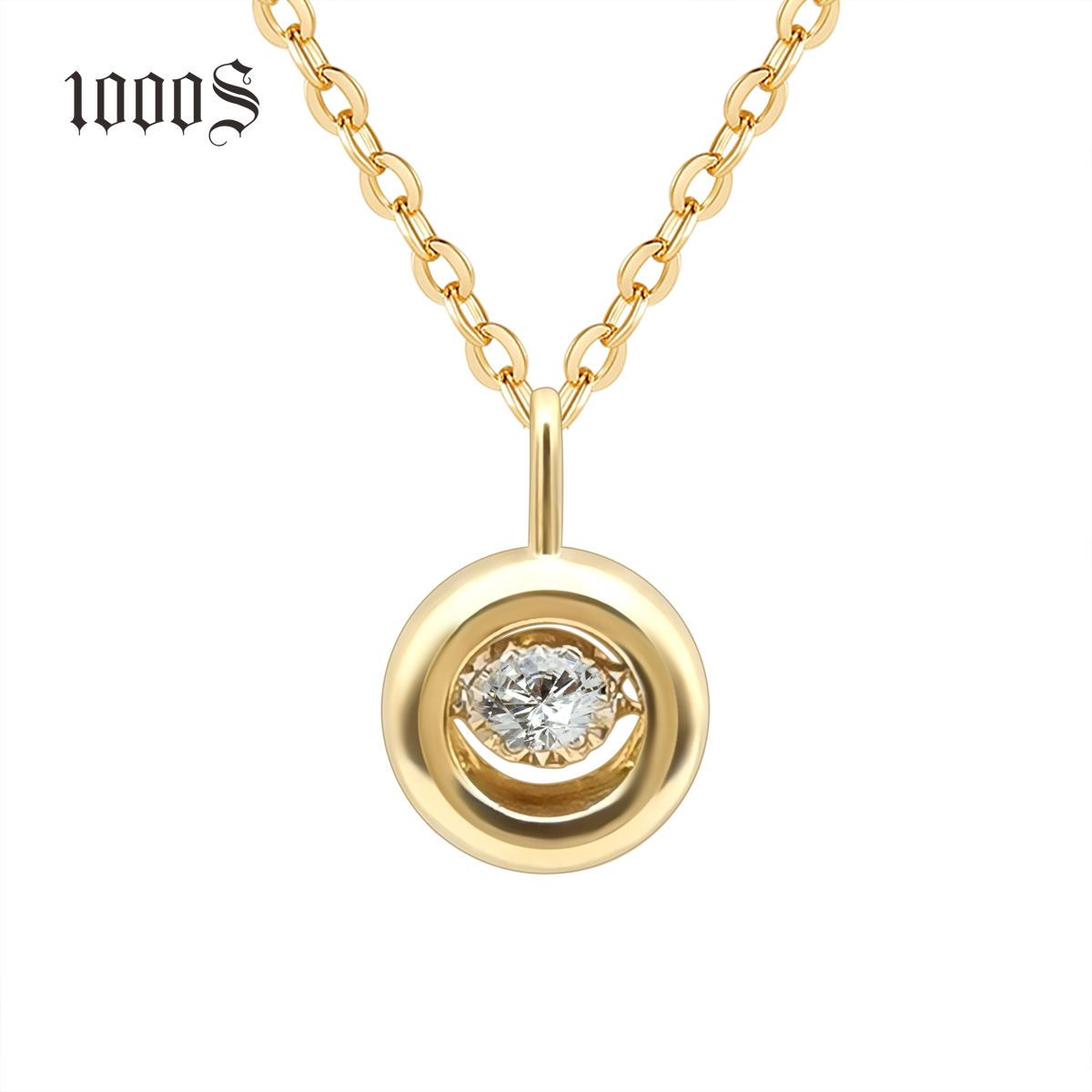 Wholesale Diamond 18K Gold Circle Pendant Necklace