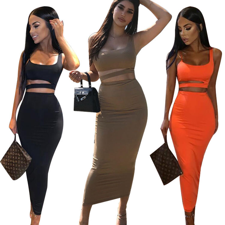 Wholesale Double Layer Seamless Sexy Bodycon Casual Dresses Summer 2 Piece Crop Top and Skirt Sets Two Piece Set Women Clothing