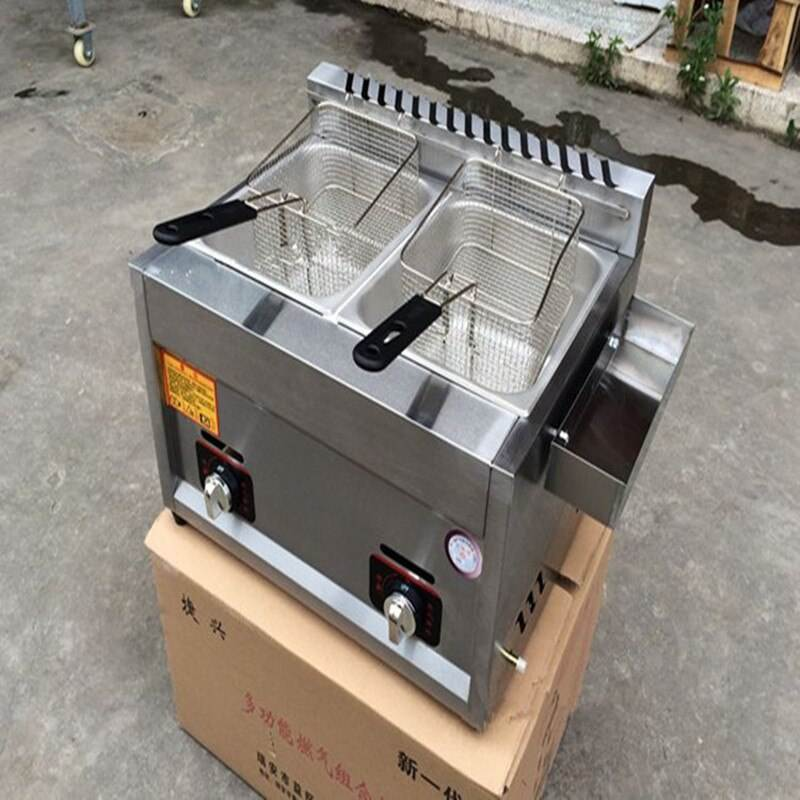 Stainless Steel 2-Tank 2 Basket-Komersial Gas Deep Fryer 1 Pembeli