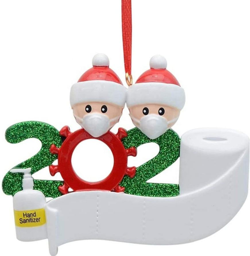 2020 Decoration Gift Personalized Resin DIY Christmas Tree Hanging Ornament with Writable Figurine Ornaments