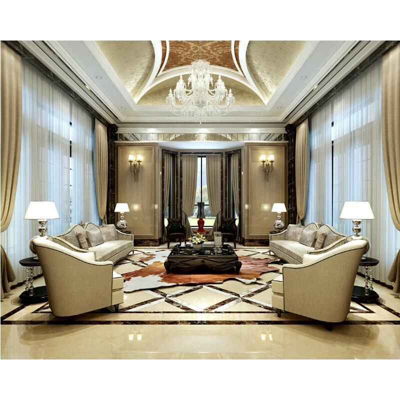Marble Waterjet Medallion Pattern Flooring Tiles Indoor Building Construction Villa Living Room Projects