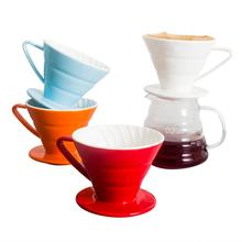 Custom multicolor embossed porcelain v60 coffee filter ceramic pour over coffee dripper