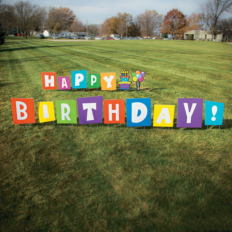 Factory direct Courtyard lawn decoration plastic letters yard sign stakes with Happy birthday