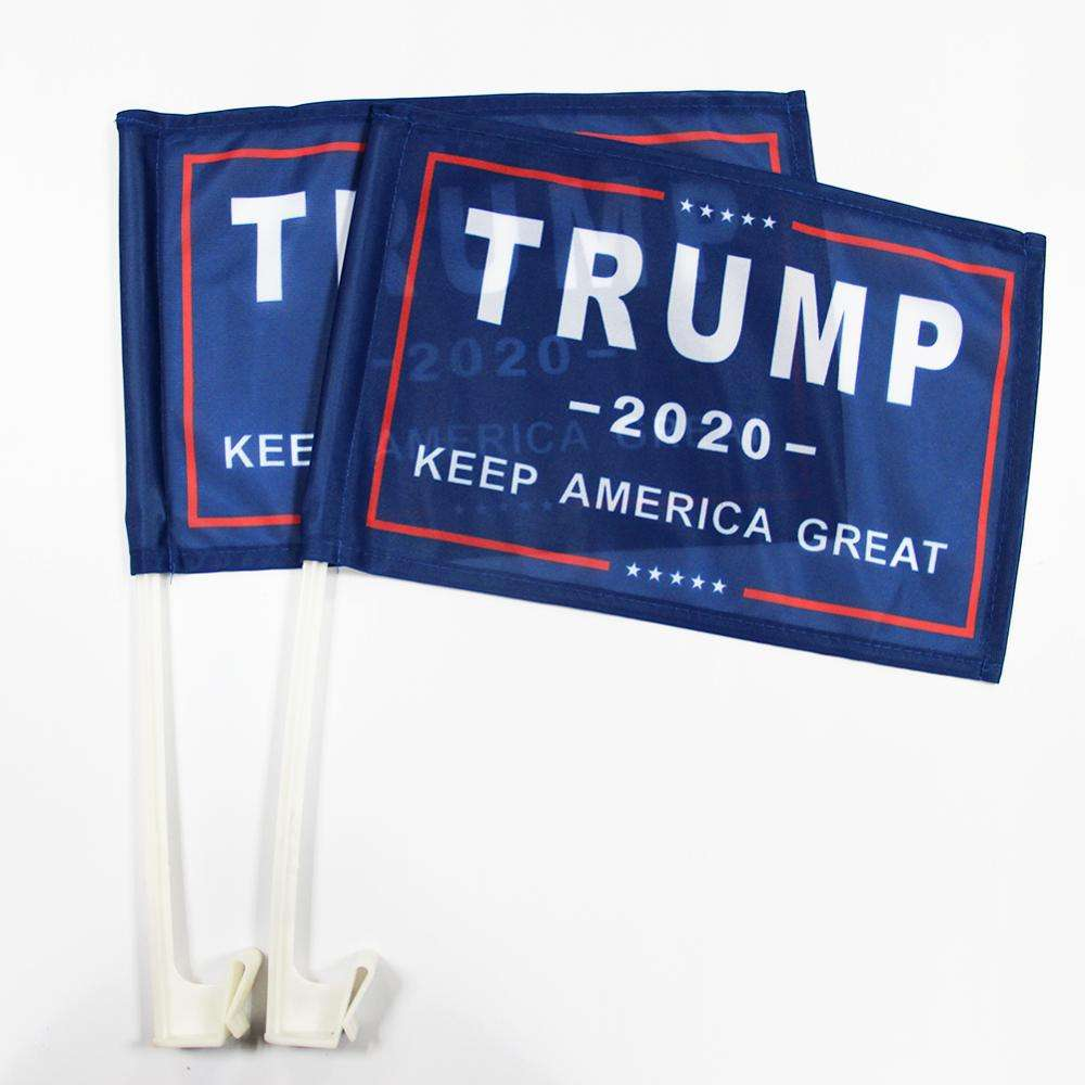 Ready to ship car advertising banners 20X30cm polyester Trump car flag car flag with suction cup