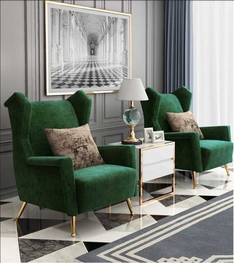 Modern light luxury living room velvet single sofa chair