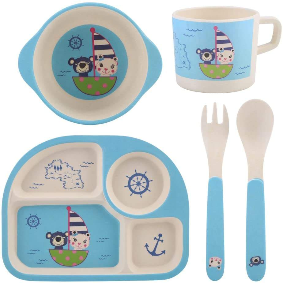 Biodegradable Organic Recycled Portable Durable Bamboo Fiber Kids Tableware With Animal Pattern