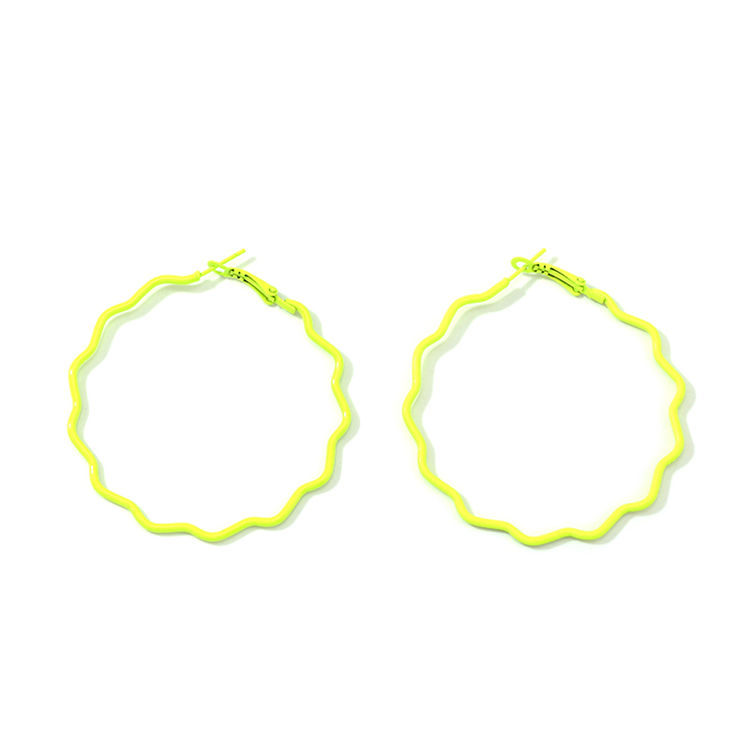 Fashion Women Party Modern Fluorescent color Big Round Ring Drop Earrings