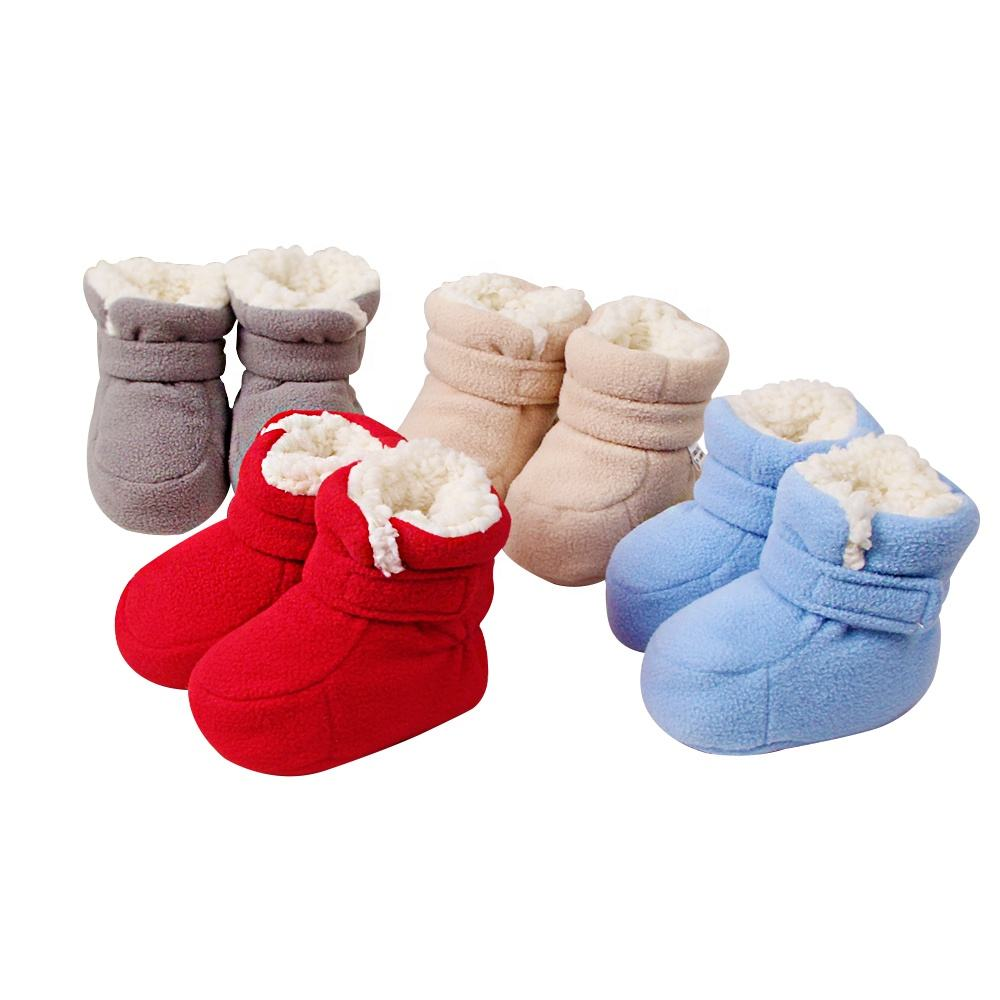 POPOMI 2020 new custom wholesale hook&loop newborn boy girl winter infant baby 100% fleece cotton shoes