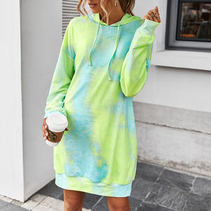 Fashion women clothing loose casual tie-dye hooded dress with pocket wholesale apparel stock