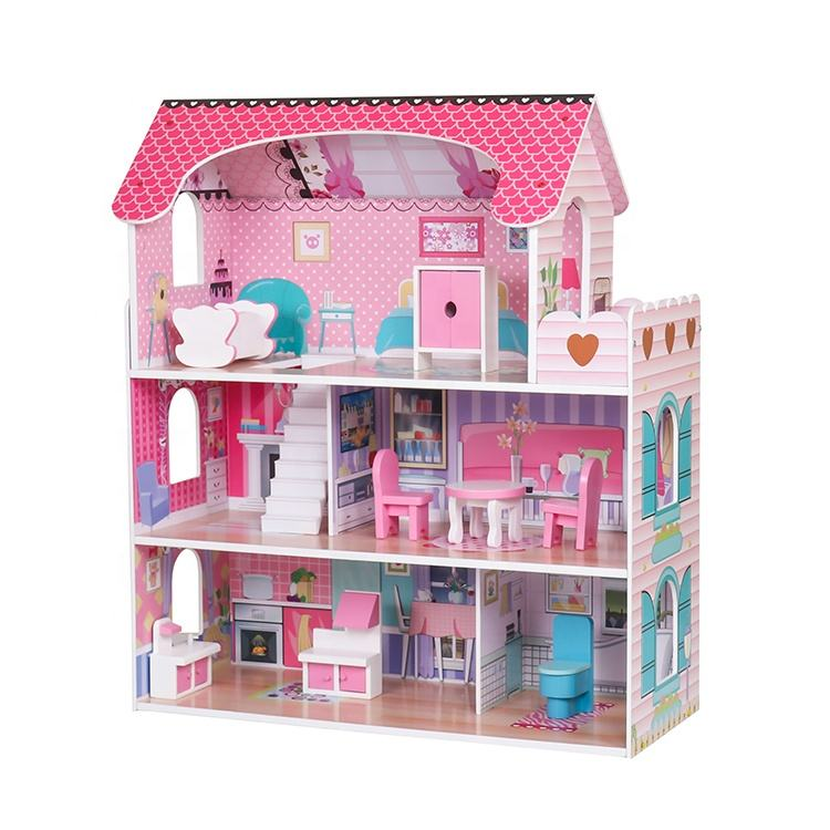 Classic small pink wooden baby doll house for girls W06A380