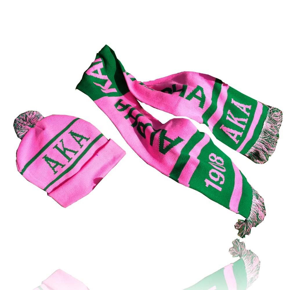 customized logo sport football scarf ring Alpha Kap Alpha Sorority AKA 1908 knitting wool Scarves cap Hat Set