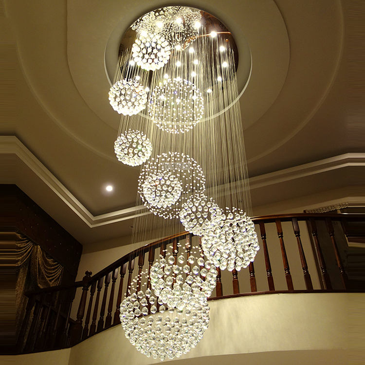 Rotating Staircase Light Crystal Chandelier Duplex Building Large Chandelier for Living Room Lobby