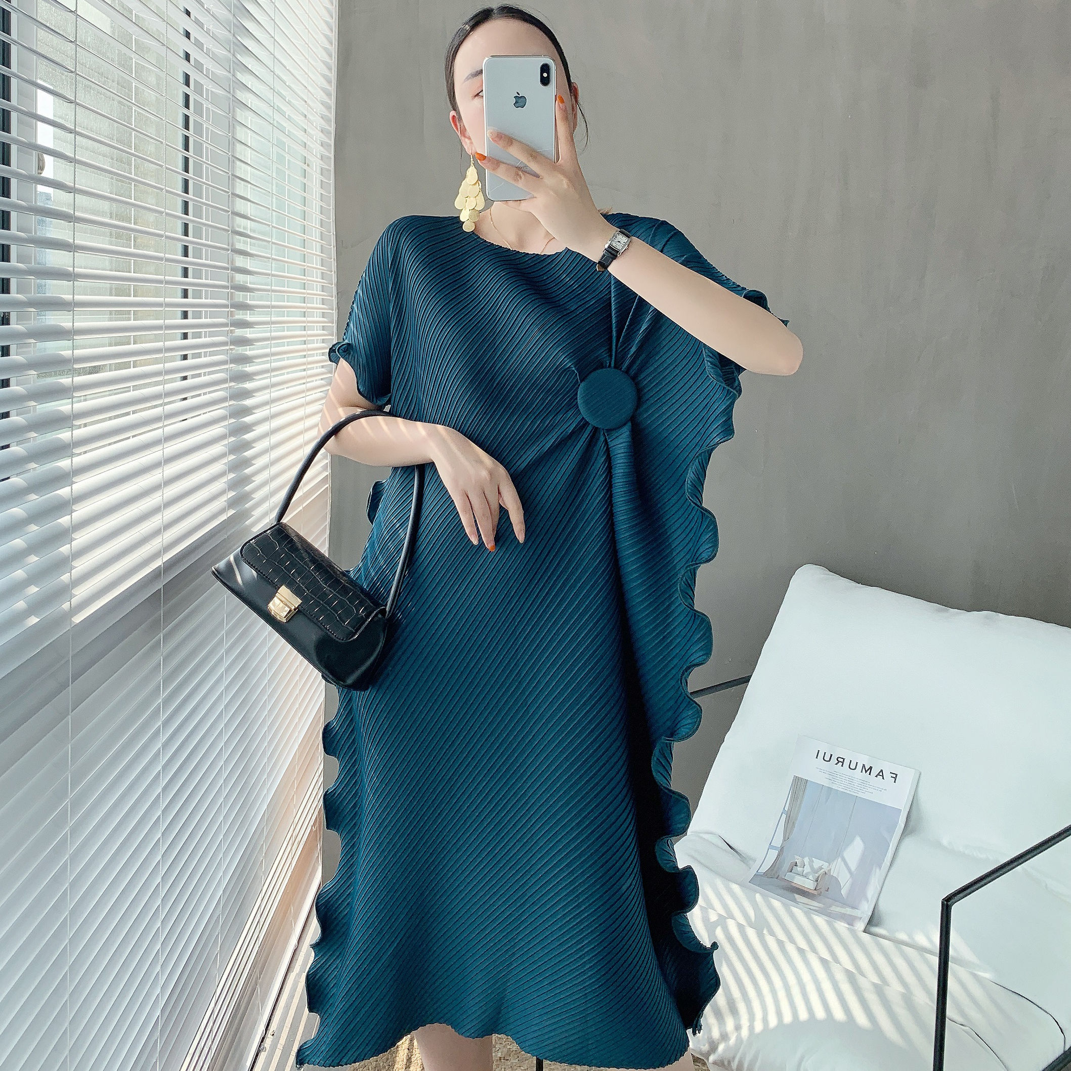 Women Apparel Cheap Pleated Women Clothing Knee Length Bodycon Casual Dress For Fat Ladies