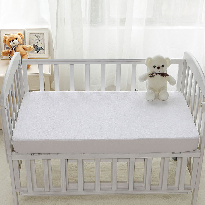 Premium Baby Used Quilted Waterproof Mattress Cover TPU laminated Baby terry cloth Bed Fitted Sheet